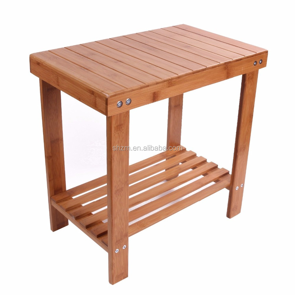Eco-Friendly Bamboo Bathtub Shower Seat Bench/Stool Indoor and Outdoor Storage Shelf and Non slip Feet
