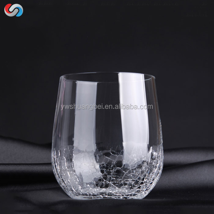 Wholesale Crack Whisky Wine Glass/Popular Drinking Glass Cup