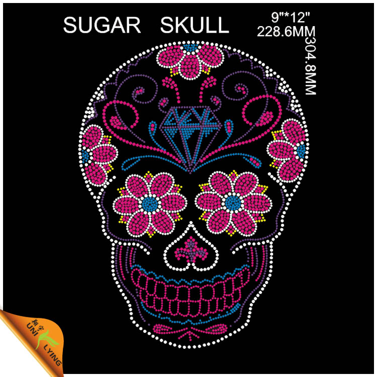 Fashion Skull With Flower Hotfix Transfer Nailhead