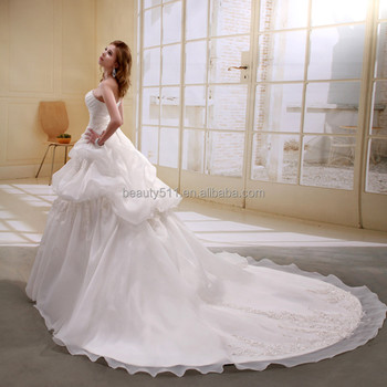 A-line Satin/organza Strapless Pearls Beaded Long Trail Gown Wedding ...
