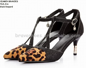 new model fashion sexy bling strap pointy toe stiletto medium heel women leopard sandals