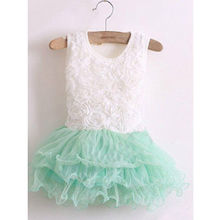 2015 Baby Girls Princess Flower Solid Lace Layered Tutu Gown font b Fancy b font font