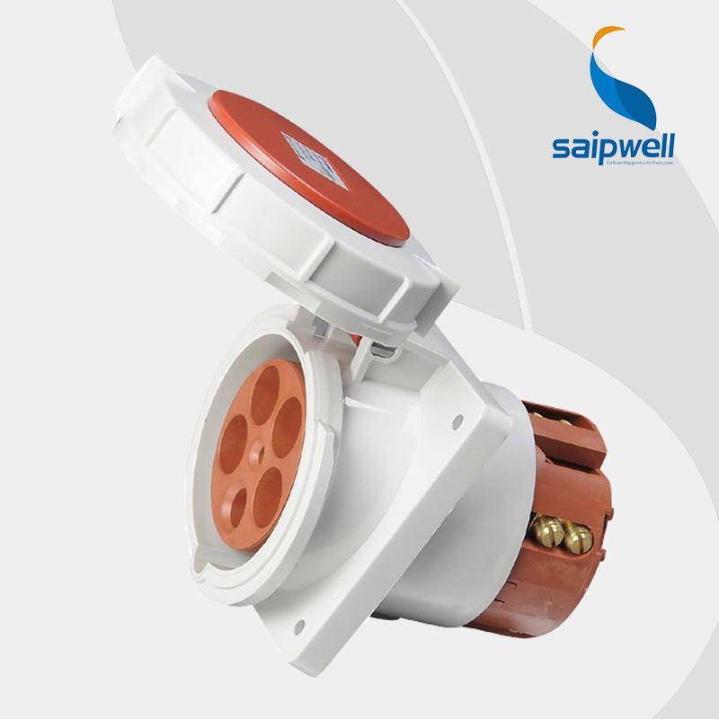 Wholesale Saipwell female socket connector 5Pin 125A 400V waterproof IP67 socket outlet EN / IEC 60309-2 wall mounted type SP216