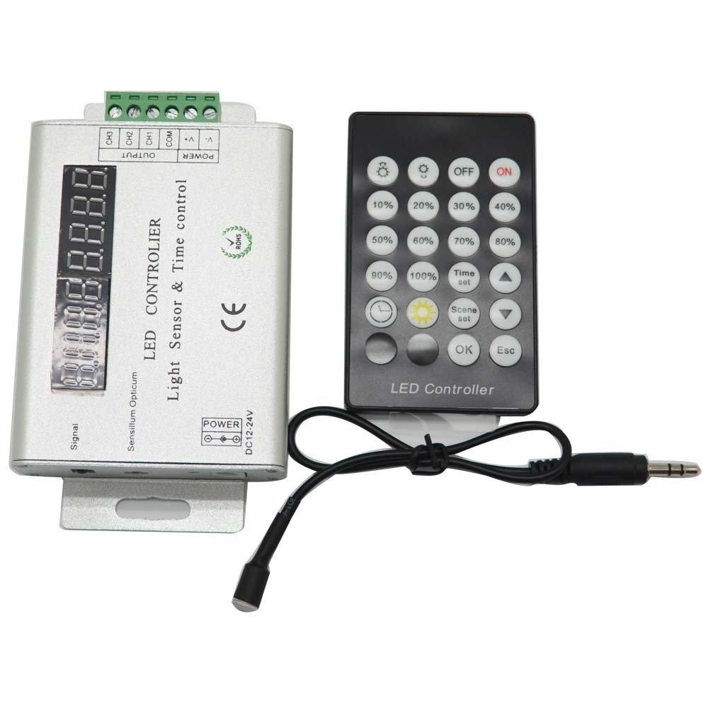 NEWSTYLELIGHTING 24 Keys 3 Channel 12V-24V Intelligent Light Sensor And Time Programmable Led Controller For Single Color Led Strip