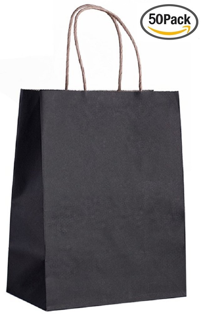 Paper bags Shopping bags. Pack of 50 black grocery bags 8 x 4.75 x 10.5 (8 x 4 3/4 x 10 1/2). Reusable Kraft paper bag with handles. Wholesale bulk & retail merchandise. Carry gift. Mfg# 8x4x10.