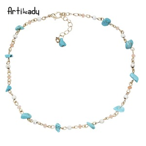 Artilady White Turquoise Turquoise And Pink Gravel 33+6length chain necklace for girlfriend gift