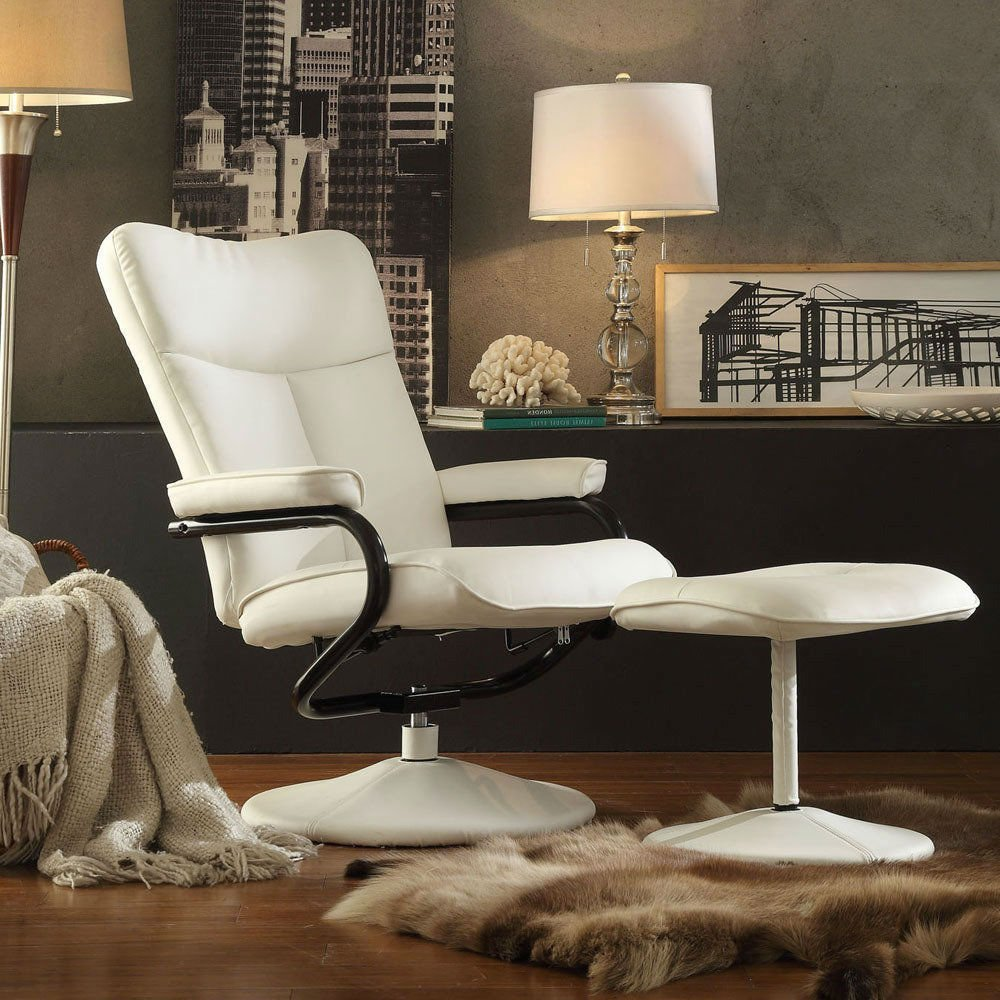 Get Quotations · Recliner Ottoman Set Displaying An Urban / Modern White  Bonded Leather. Features A Swivel Functionality