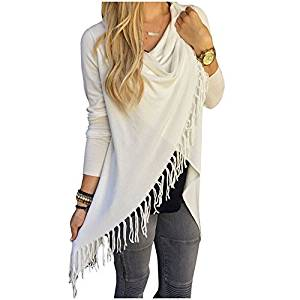 Womens Sweater - SODIAL(R)Womens Capes And Ponchoes Oversized Sweater With Tassel Turtleneck Sweater (White,XL)