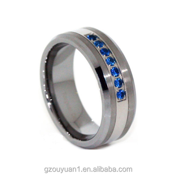 Thin Blue Line Ring Tungsten Carbide Mens 7 Stone Cz 8mm Wedding Band Rings