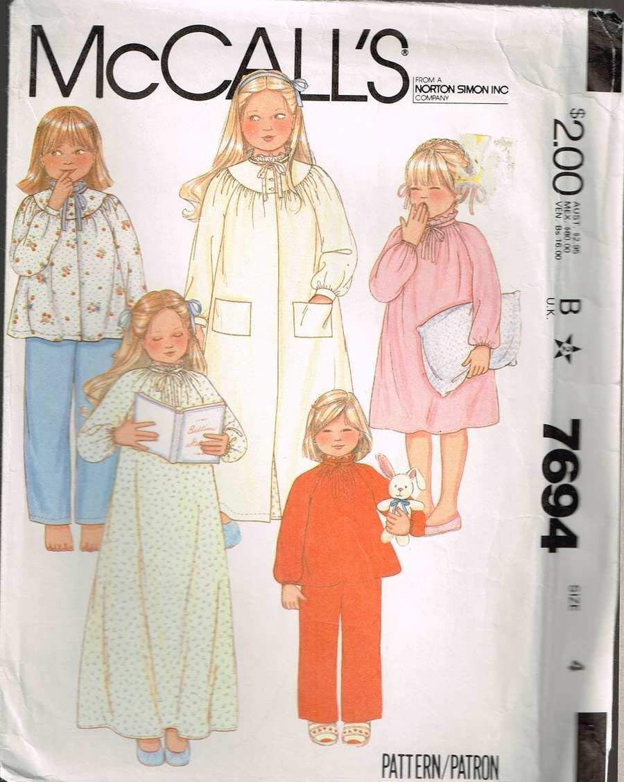 9bab6539e2 Get Quotations · McCall s 7694 Girls Gathered Neckline Nightgown Robe  Vintage Sewing Pattern Check Offers for Size