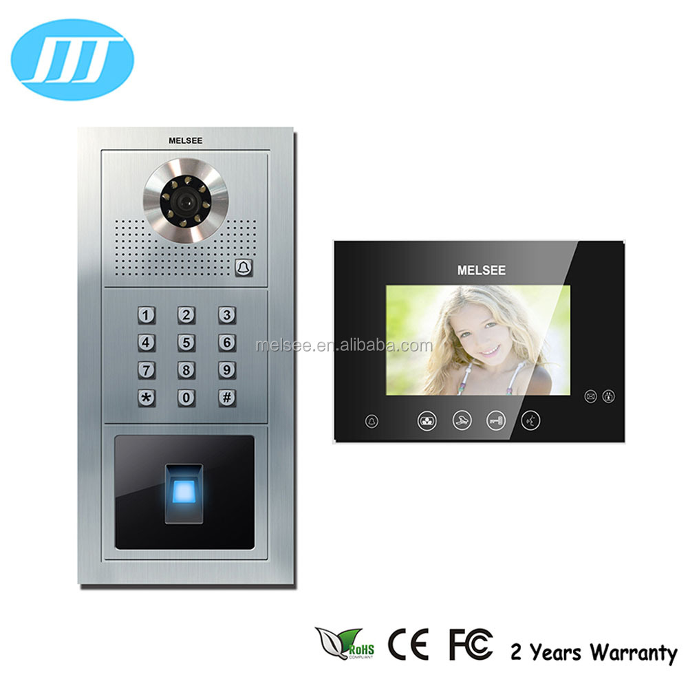 Waterproof outdoor biometric fingerprint video intercom with 7 inch indoor monitor