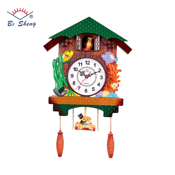 2017 Bosheng Brand Child Like House Shape Plastic Cuckoo Music Wall Clock For Decor Wholesale World Time Clock(L5-1)