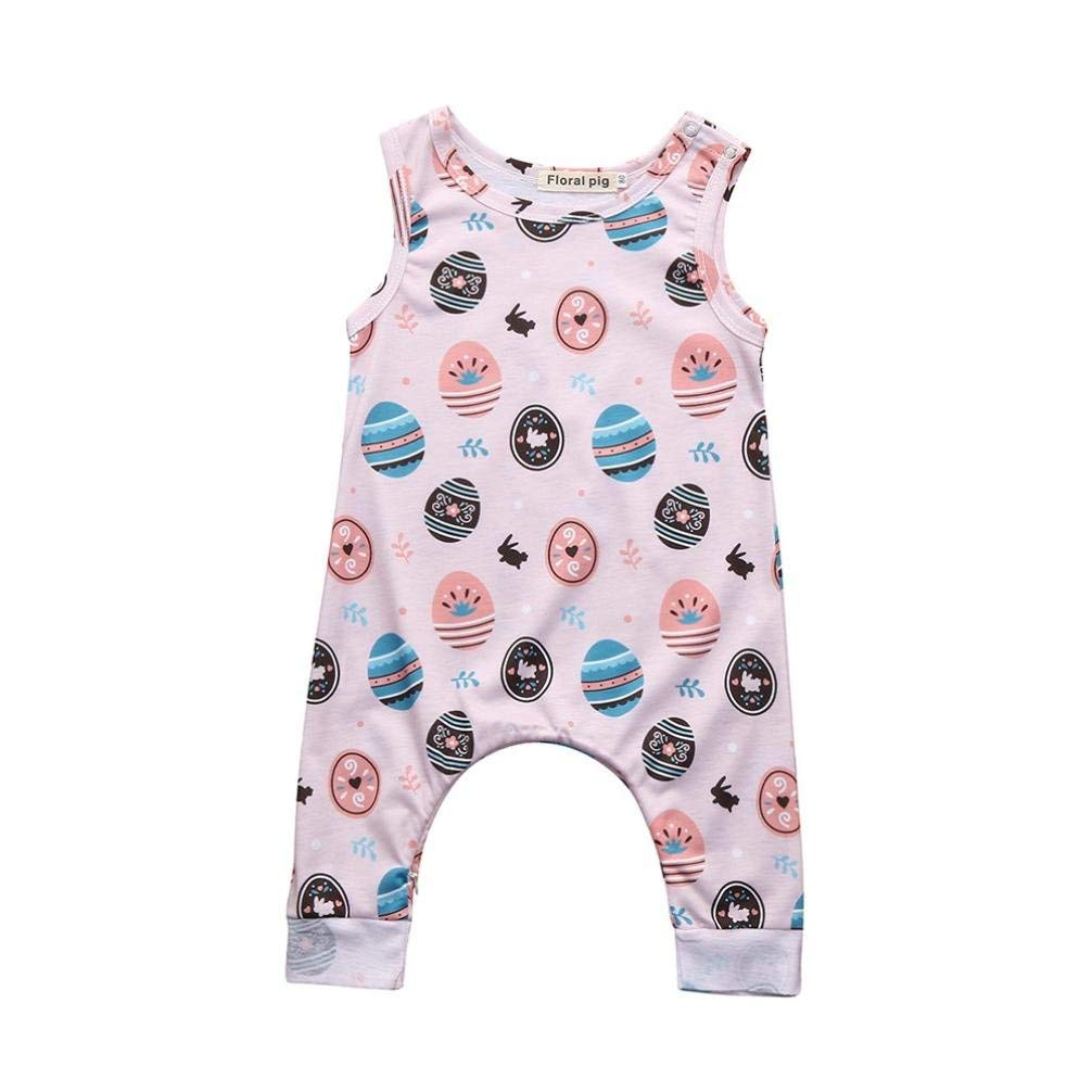 b889fcb4fa3 Get Quotations · ChainSee Baby Boys Girls Easter Eggs Print Sleeveless  Romper Jumpsuit Outfits