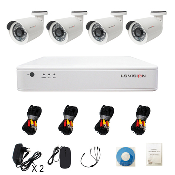 LS VISION HD 1080P Hot Sell 2 Megapixel Cheap 4CH AHD DVR CCTV Security System Kit for Home and Office