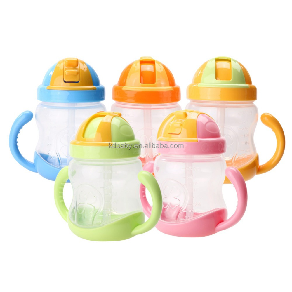 2017 NEW 280ml Cute Baby Cup Kids Children Learn Feeding Drinking Water Straw Handle Bottle Sippy Training Cup