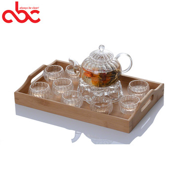 Wholesale Clear Borosilicate Glass Teapot Set With Bamboo Tray