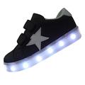 Star Patchwork 7 Color USB Rechargable Unisex Children Lighted Shoe Boys Led Sneakers Girls Luminous Flat