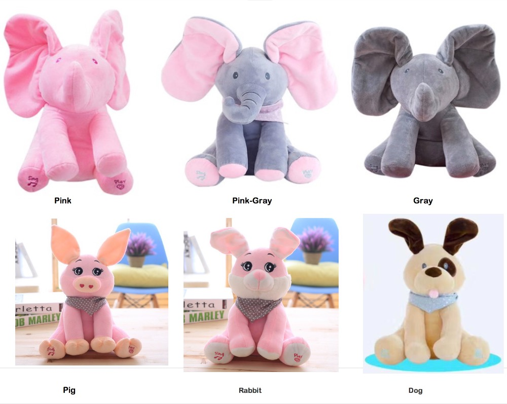 Birthday Gift Pet With Music Flappy a soft elephant toy peek boo the dog plush toy