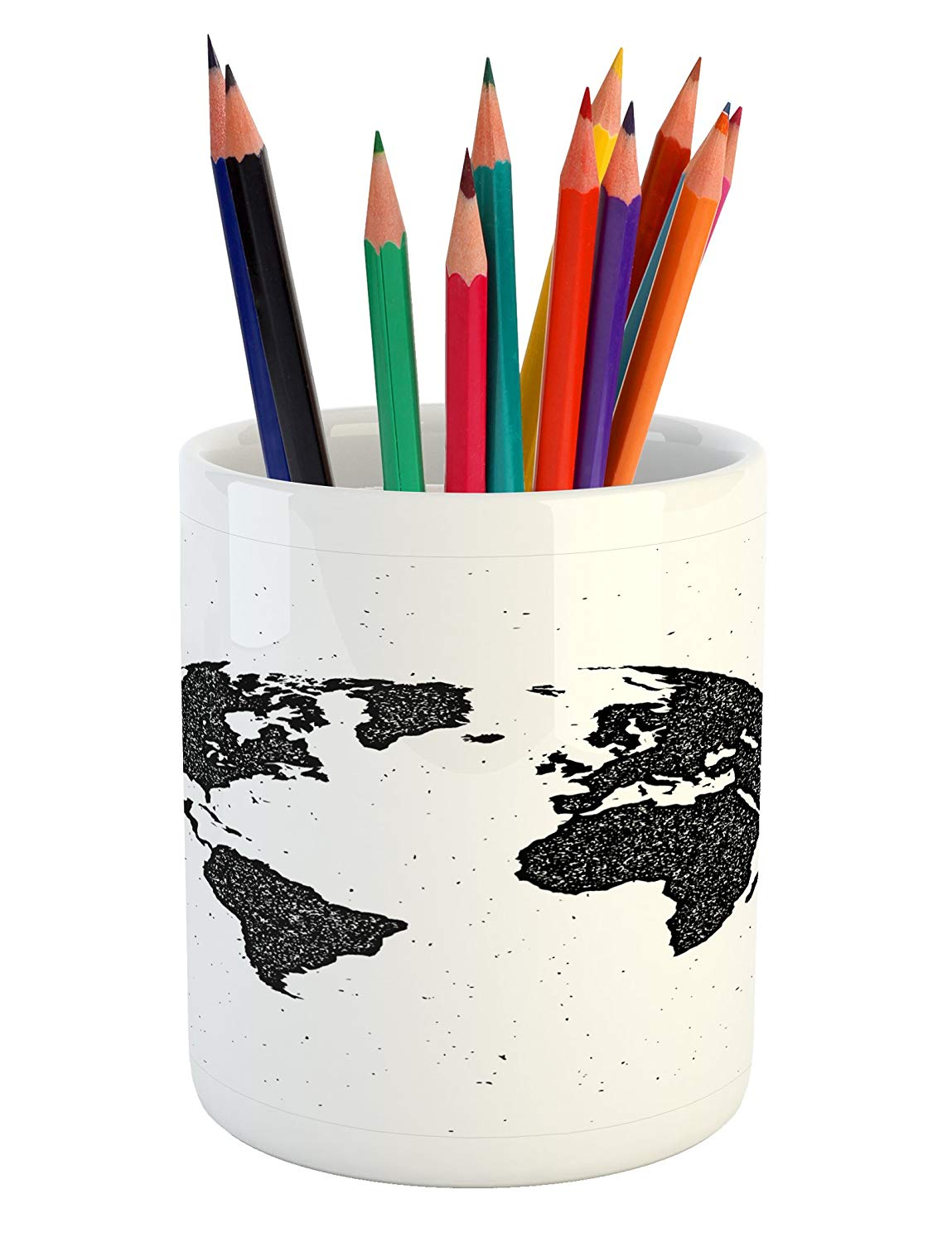 Lunarable Vintage Modern Pencil Pen Holder, Grunge World Map Continents on the Globe America Europe Africa and Asia, Printed Ceramic Pencil Pen Holder for Desk Office Accessory, Black and White