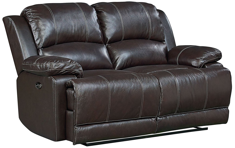 Standard Furniture Audubon Power Motion Reclining Loveseat, 100% Top Grain Leather, Coffee Brown