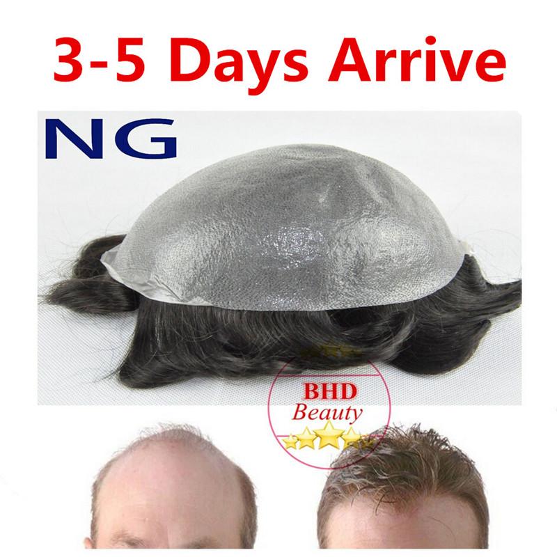 Sellect Colors 6 Slight Wave Medium Light PU Basement Mens Hair Piece Toupee Best Quality NG