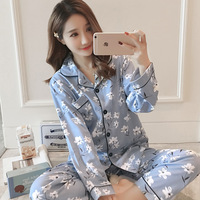 Lady sleeping wear sexy girls long sleeve women cotton China wholesale homewear pajamas