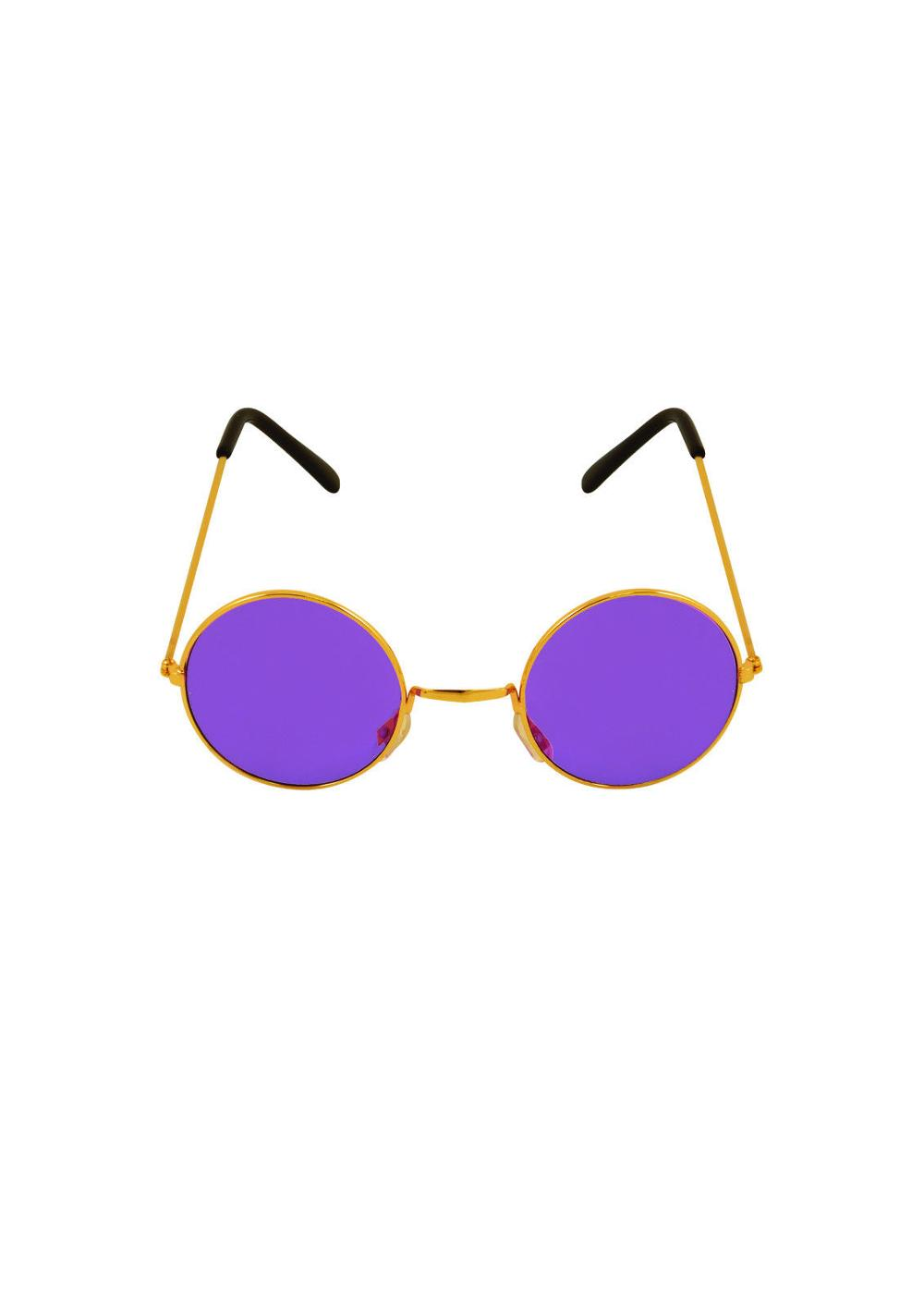 Unisex Hot Funny Ladies Mens Fancy Dress Party Flashing Purple round Sunglasses BP3810