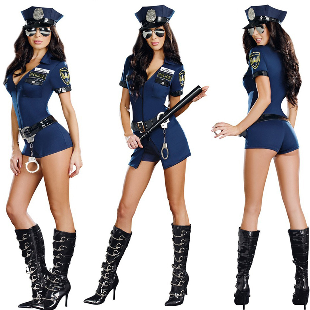 2280d684964 New Stylish Female Cop Police Officer Uniform Adult Halloween Cosplay  Costume Sexy Deep V Neck Blue Jumpsuit Party Wear