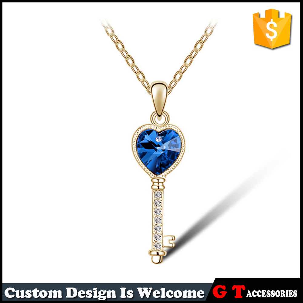 Fashion Design Romantic Valentine Jewelry Gold Silver Plated Key Love Heart Crystal Pendant Necklace