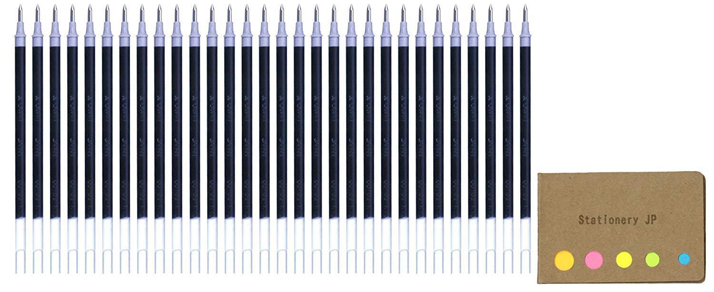 Uni-ball UMR-7 Refills for Gel Ink Ballpoint Pen, 0.7mm, Black Ink, 30-pack, Sticky Notes Value Set