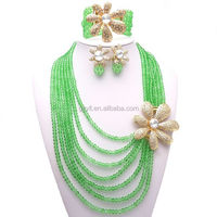 wholesale fashion coral beads crystal jewelry set/ rani haar pearls jewelry