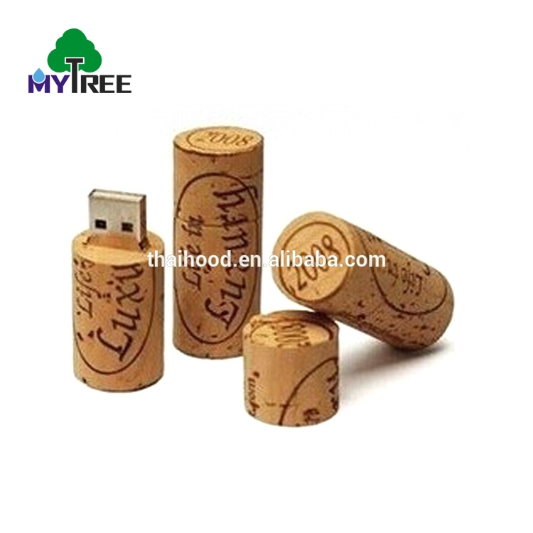 Wholesale price promotional gift cheap flash drive wine cork wooden stick 128MB custom USB