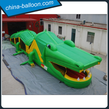 Elegant Inflatable Crocodile Obstacle Course / Giant Inflatable Dinosaur Game For  Adults And Kids