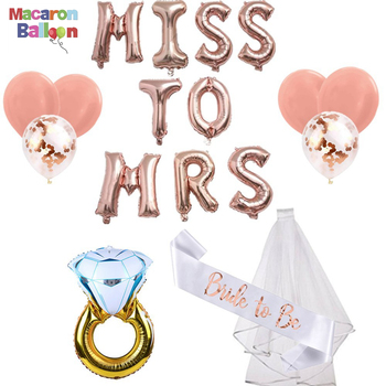 4eb7be04f2dd Rose Gold Bridal Shower Decorations Kit MISS to MRS Balloon Banner  Engagement Ring Foil Balloons Bachelorette