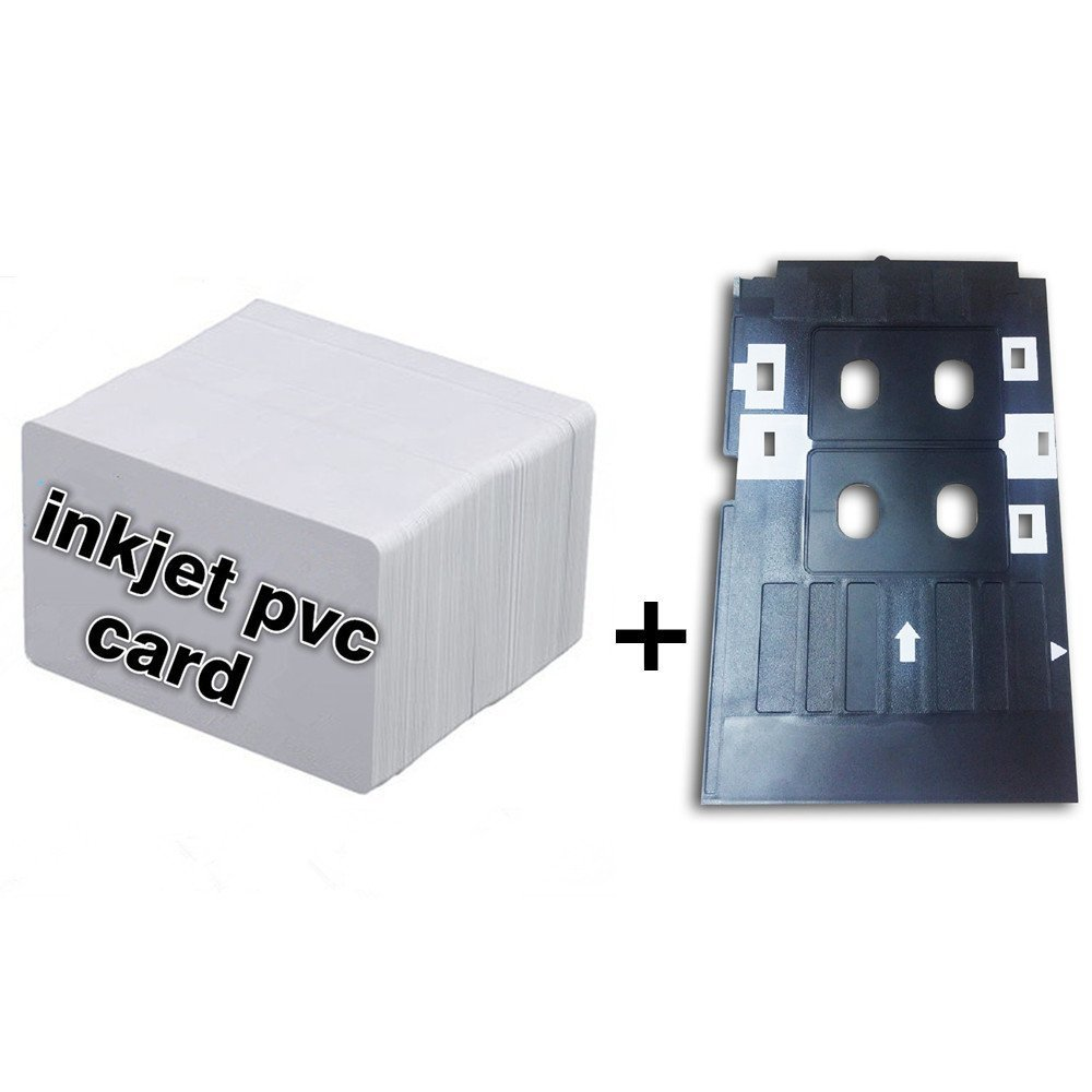 Inkjet PVC ID Card Starter Kit - Plain Printable Inkjet PVC ID Card + White Plastic Inkjet PVC ID Card Tray for Epson L800 L801 (10)