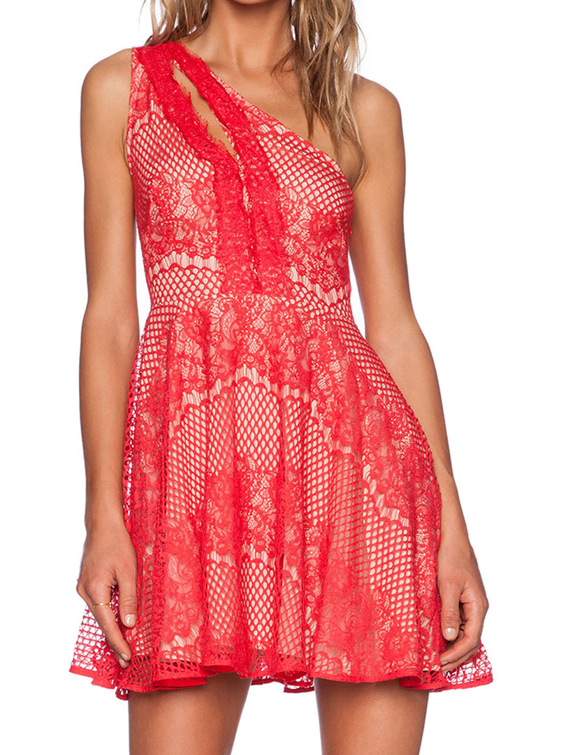 8deb8ba5546 Women Red Sleeveless One Shoulder Cut out Floral Lace Crochet Sexy High  Waist Party Casual Skater