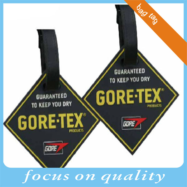 high quality brand promotion GORE-TEX customized brand bag tags vinyl 3d bag hanger for promotion