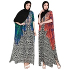 Unique High Grade 2 Color Muslim Women Long Dress Printed Polyester Abaya Kaftan