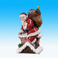 Santa Claus Climbing Down Chimney with Presents Resin Christmas Decoration Figurine