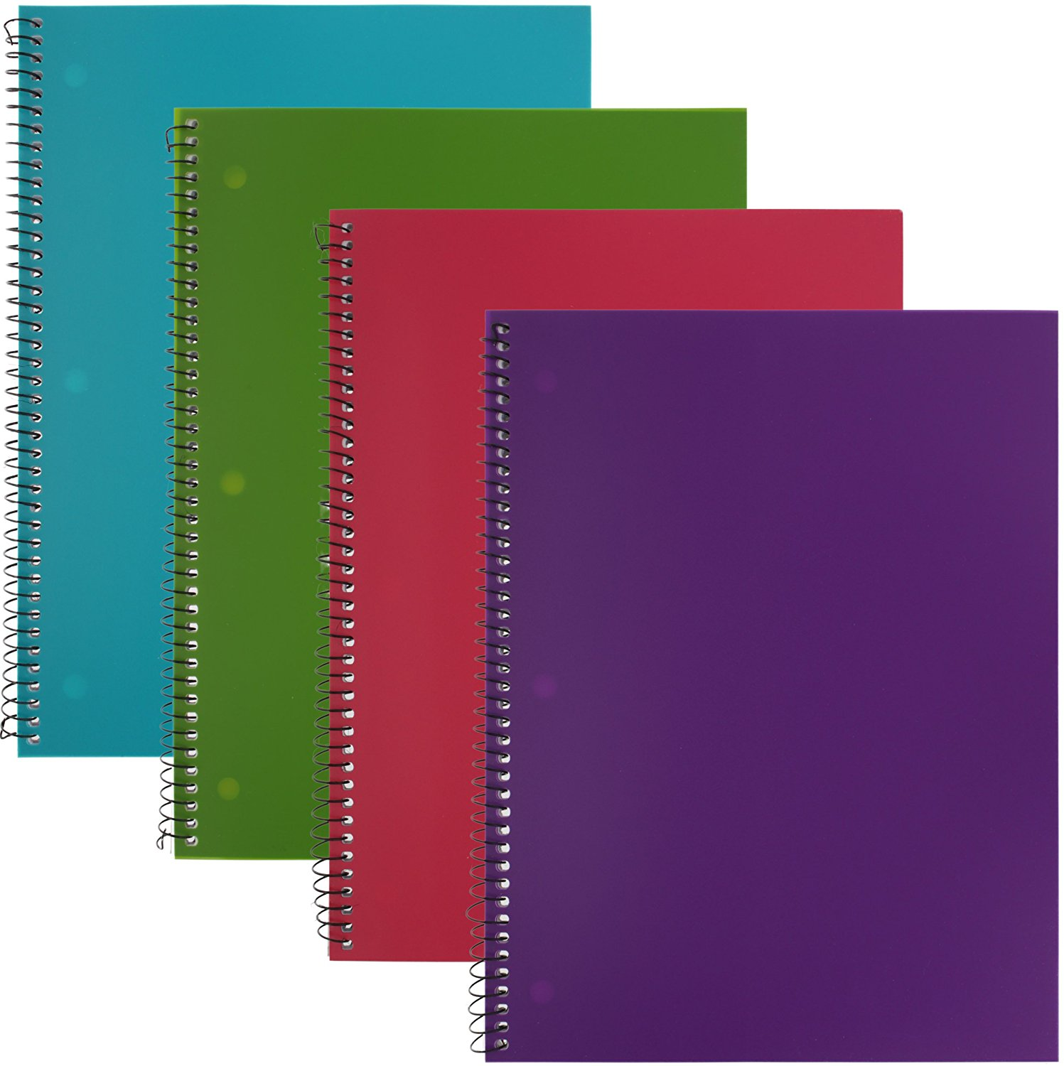 Emraw Poly Electricz Notebook Spiral with 60 Sheets of Wide Ruled White Paper - Set Includes: Turquoise, Purple, Pink & Green Covers (Random 2-Pack)