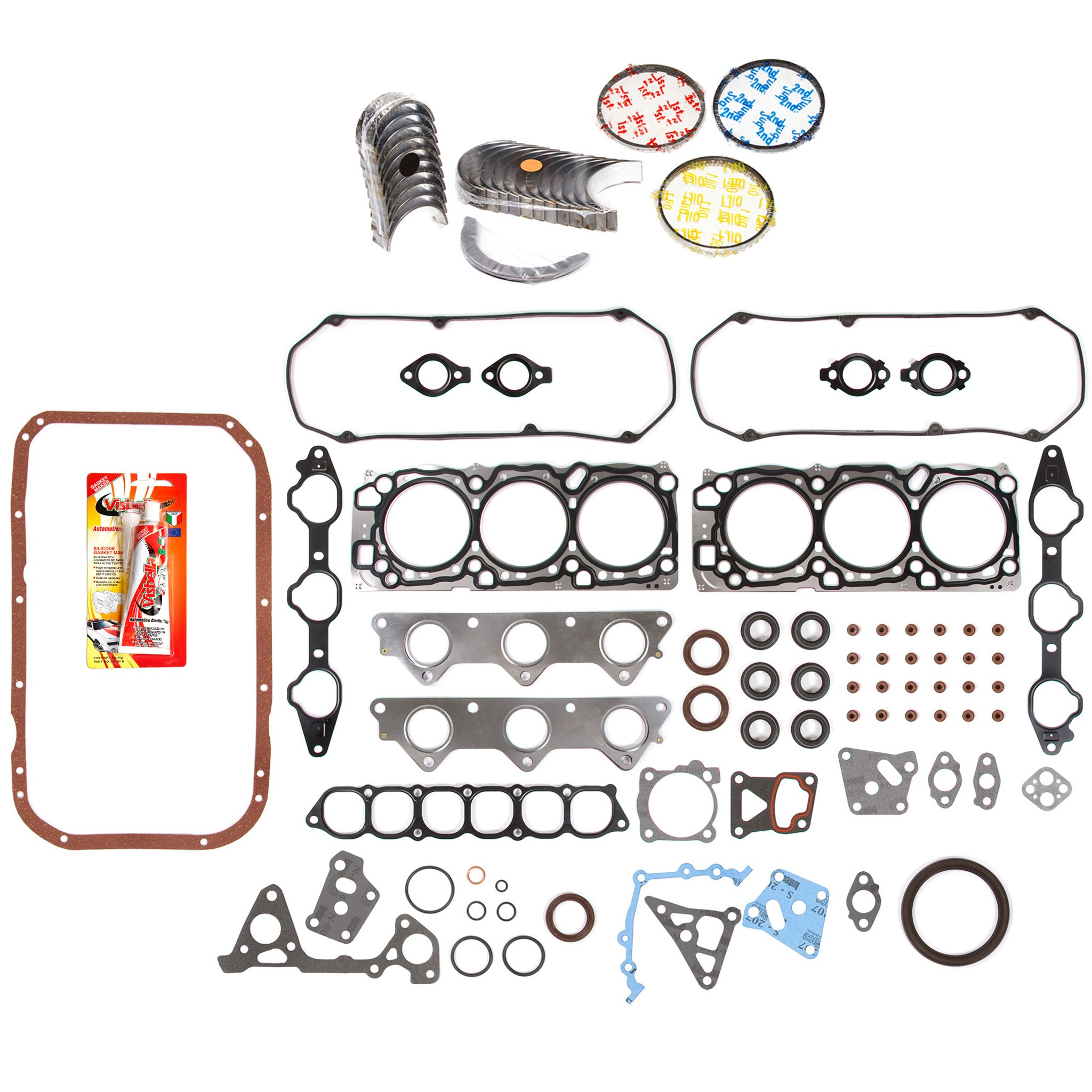 Domestic Gaskets Engine Rering Kit FSBRR5018EVE\0\0\0 97-04 Mitsubishi Montero Sport Diamante 3.5 6G74 Full Gasket Set, Standard Size Main Rod Bearings, Standard Size Piston Rings