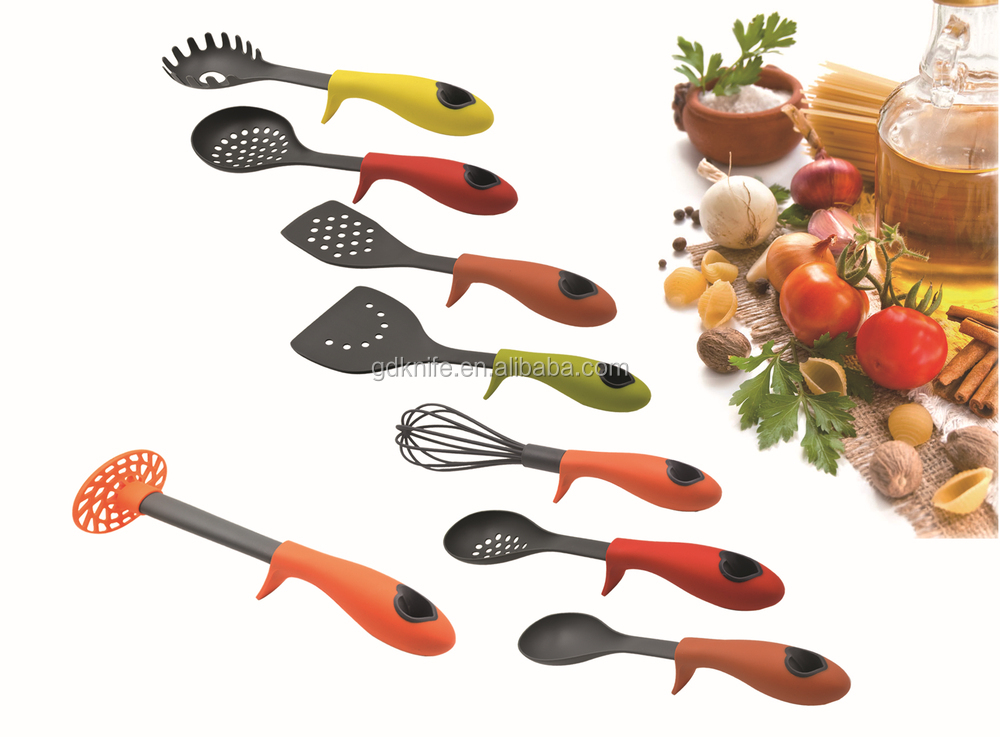 New style and high quality 6pcs colorful tpr handle nylon for Colorful kitchen tools