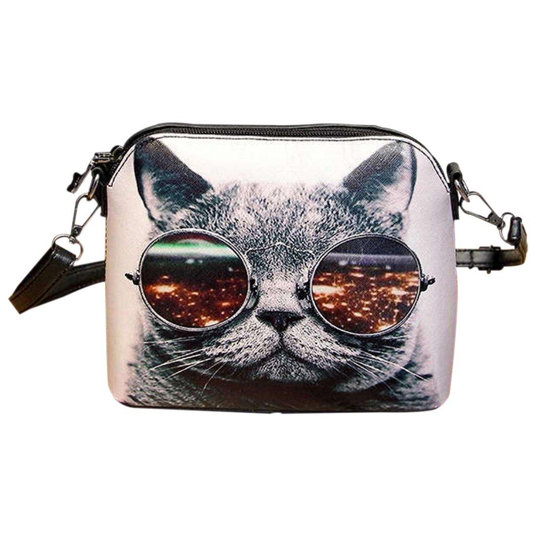 messenger bag - SODIAL(R)Printing women Handbag Shell bag women PU leather messenger bag women small bag £¨Cat£