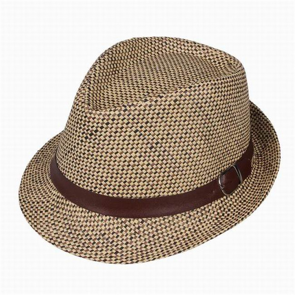 3a3030e2460 Get Quotations · 2015 New Cool Kids Fedora Trilby Derby Top Sun Hat Straw  Jazz Cap Plaid For Children