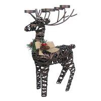 Christmas Reindeer Sculpture Ornaments Deco, Large Adorable Reindeer Tealight Holder