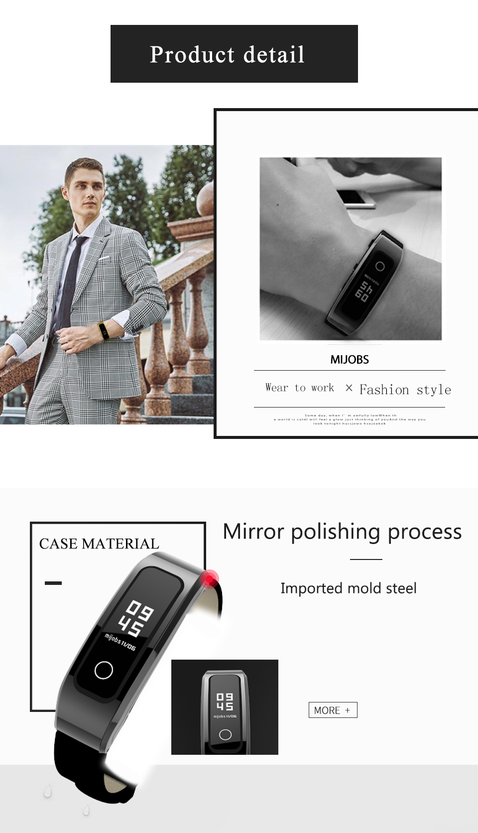 Mijobs High quality cowhide leather strap for huawei honor band 4 running wrist band watch bands wholesale