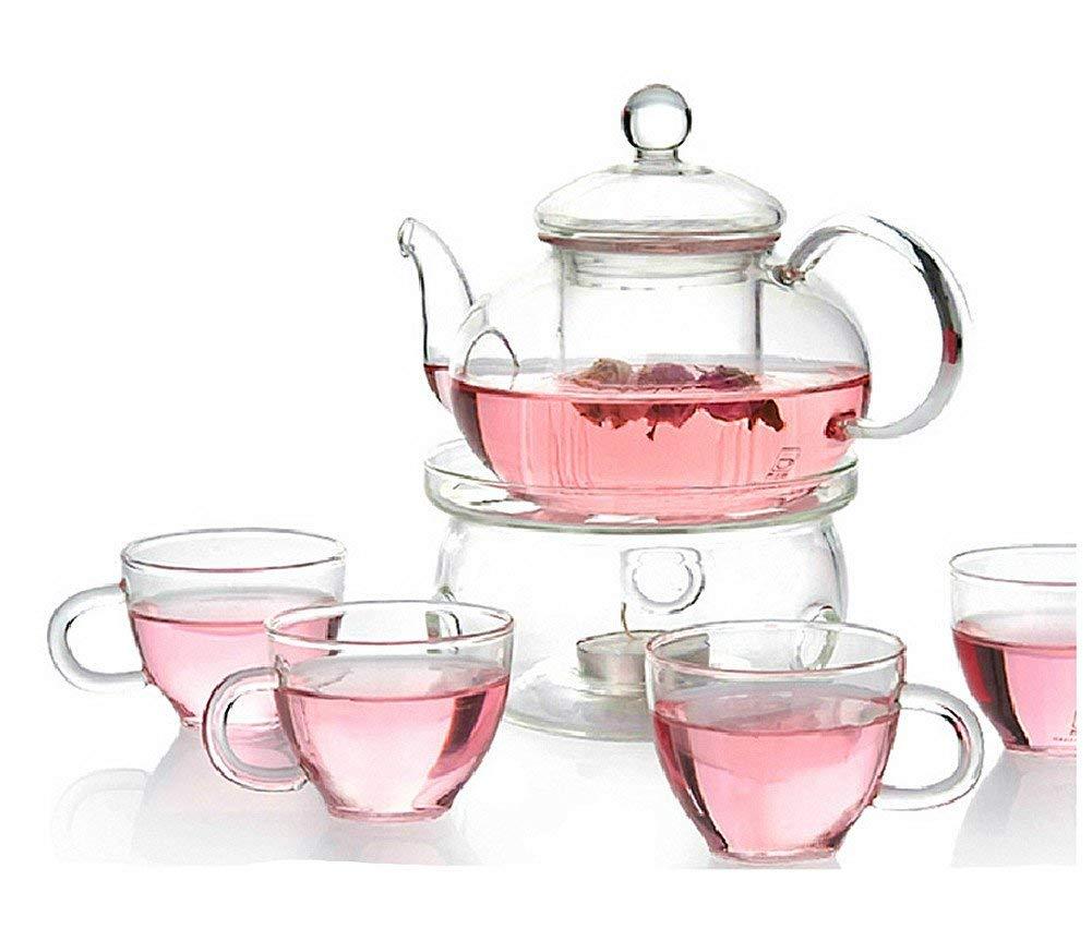 Moyishi Clear Heat Resistant Borosilicate Glass Teapot Tea Set & Infuser 600ml And 4 handle Tea Cups