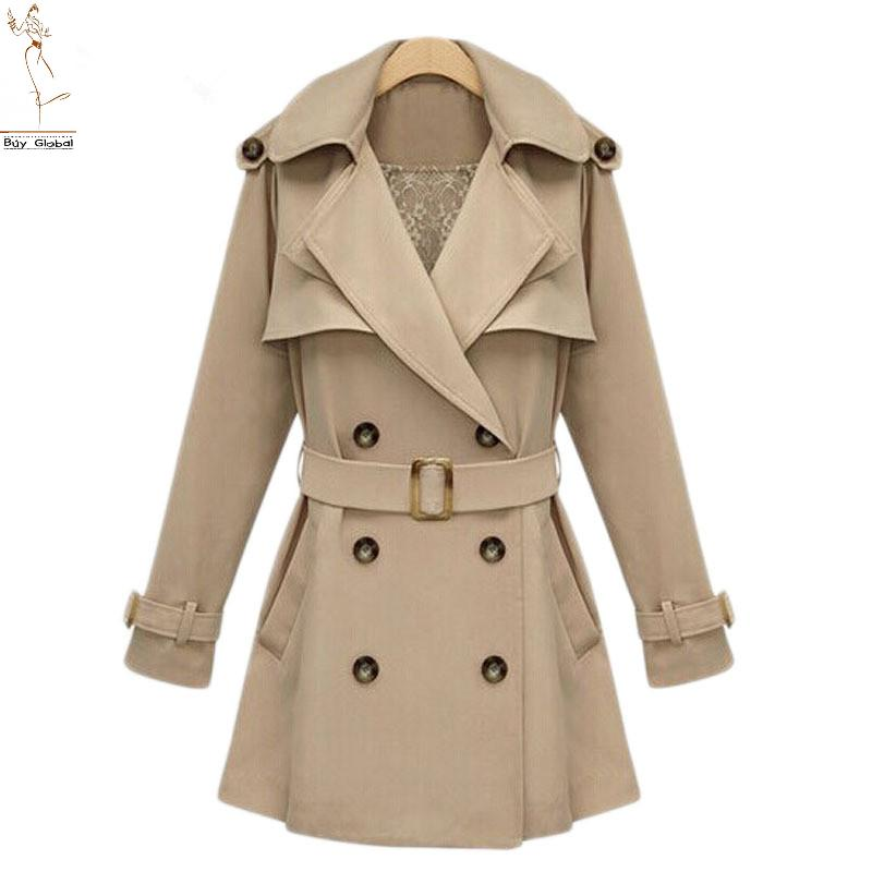 New 2015 Spring and Autumn Women Fashion Double Breastes Slim Trench Coat Lace Lining Army Green Black Khaki Elegant Trench Coat