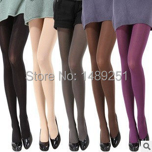 2016 Hot Women Sexy Pantyhose Autumn Winter Nylon Tights 120D Velvet Candy Color Stockings Step Foot