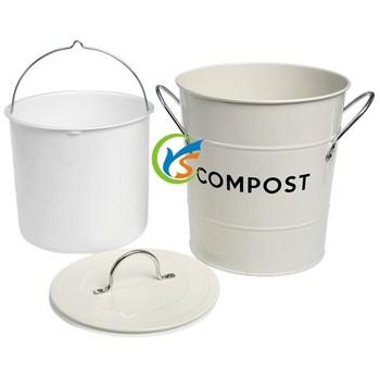 Galvanized Metal Kitchen Compost Bin With Plastic Inner
